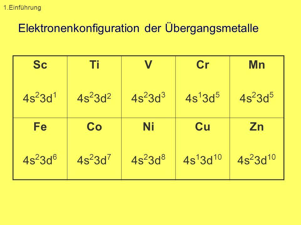 Elektronenkonfiguration der Übergangsmetalle Sc 4s 2 3d 1 Ti 4s 2 3d 2 V 4s 2 3d 3 Cr 4s 1 3d 5 Mn 4s 2 3d 5 Fe 4s 2 3d 6 Co 4s 2 3d 7 Ni 4s 2 3d 8 Cu