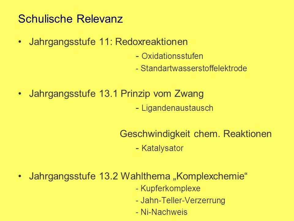 Schulische Relevanz Jahrgangsstufe 11: Redoxreaktionen - Oxidationsstufen - Standartwasserstoffelektrode Jahrgangsstufe 13.1 Prinzip vom Zwang - Ligan
