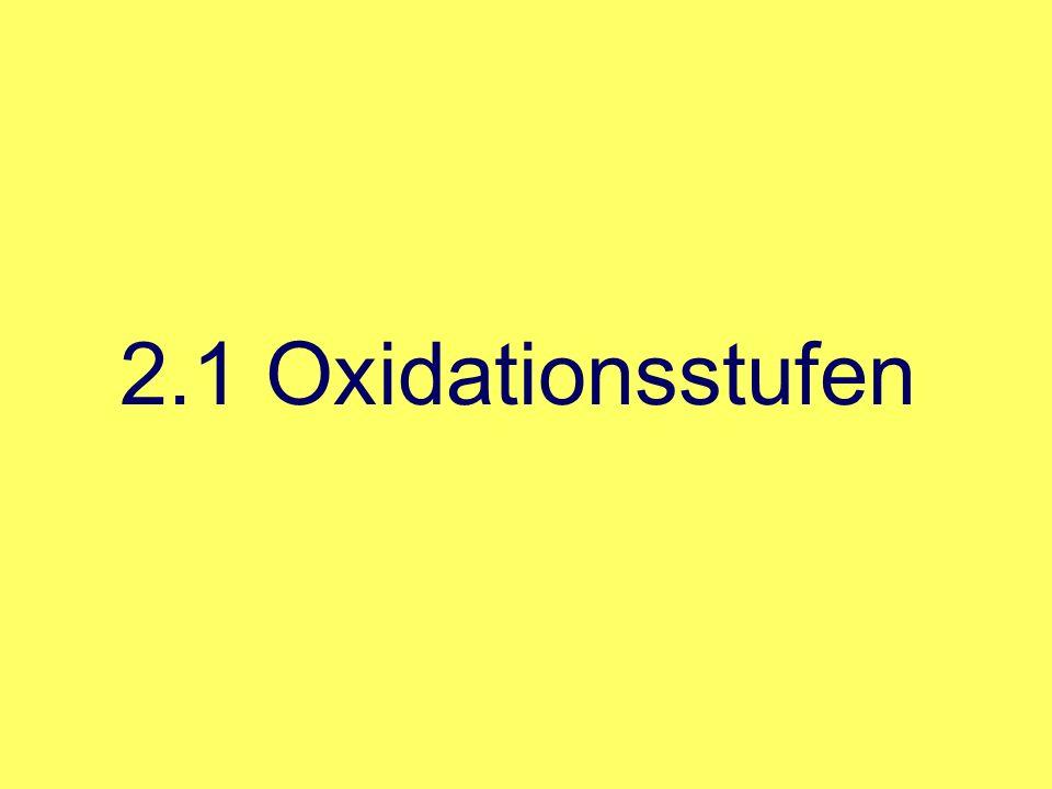Spannungsreihe durch die Spannungsreihe lässt sich voraussagen, welche Redoxreaktionen möglich sind Elemente mit einem niedrigeren Reduktionspotential (E°) geben Elektronen an die Elemente mit einem höheren Standardpotential ab 2.1 Oxidationsstufen Zn 2+ + 2e - H2H2 2H + + 2e - CuCu 2+ + 2e - - 0,76 + 0,34 E ° in V Zn 0,00