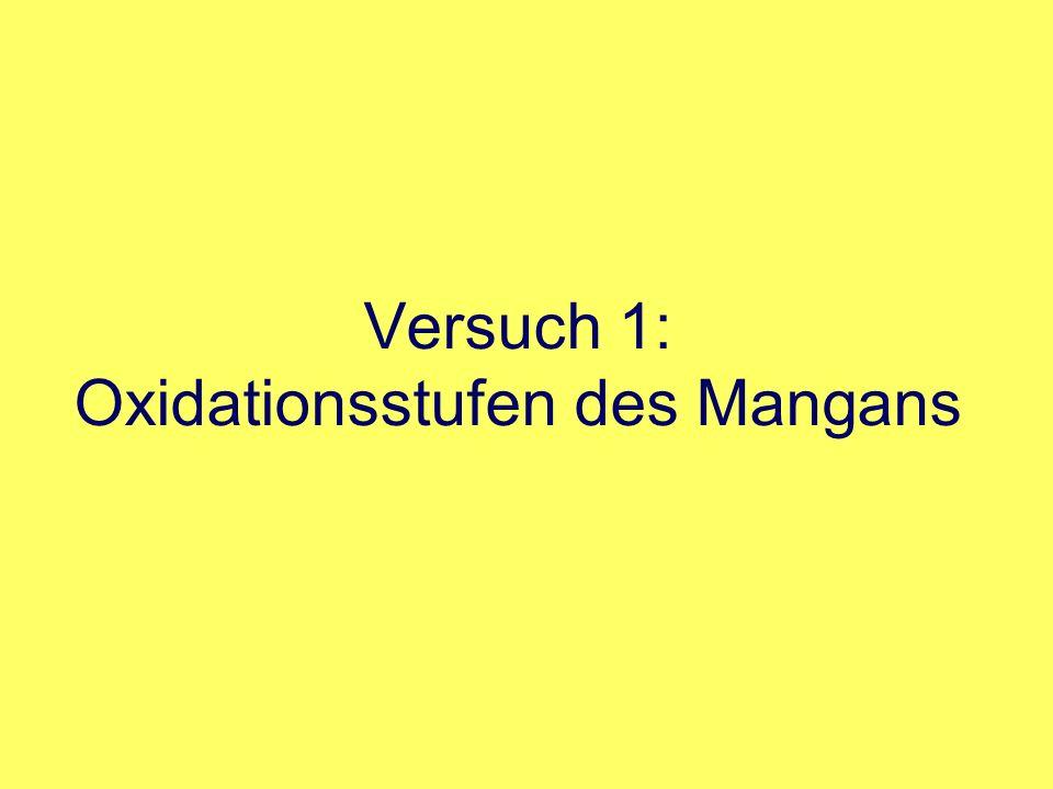 Versuch 6: Zerfall von Wasserstoffperoxid durch Mangan (IV)- oxid 2.4 Katalysatoren +4+6 +4