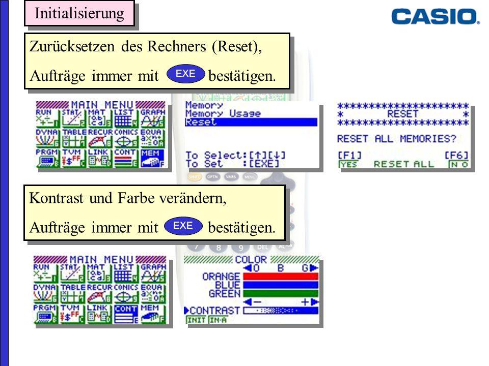 Zurücksetzen des Rechners (Reset), Aufträge immer mit bestätigen. Zurücksetzen des Rechners (Reset), Aufträge immer mit bestätigen. Kontrast und Farbe