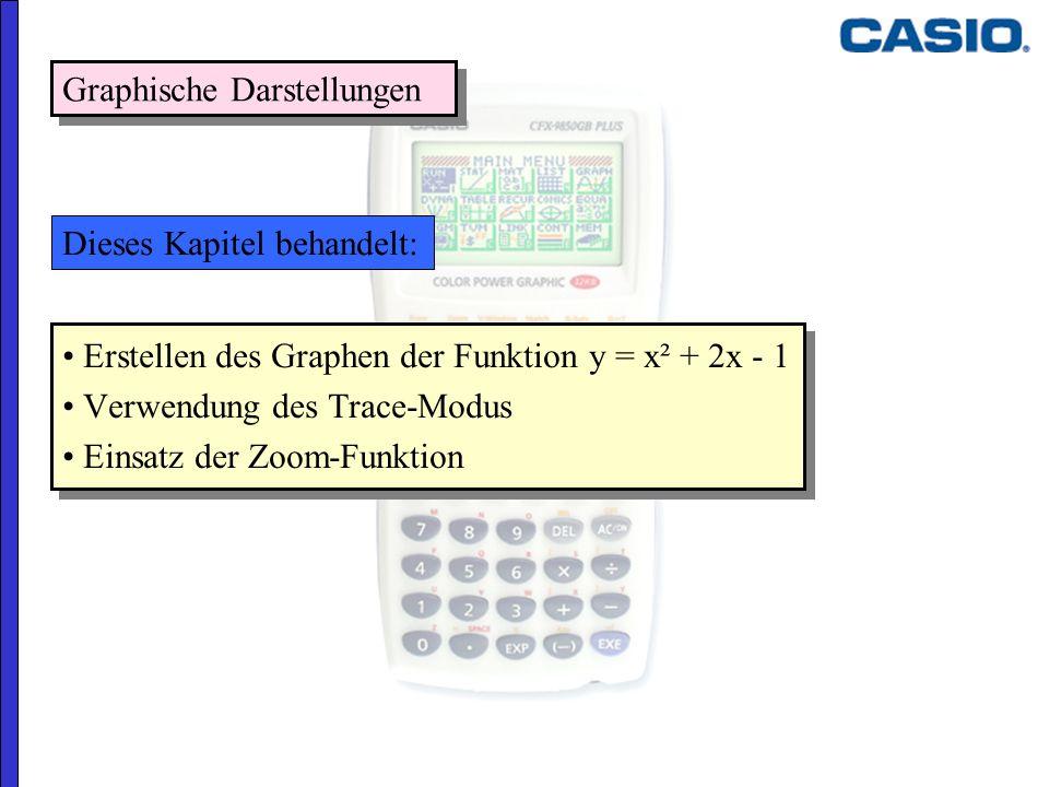 Graphische Darstellungen Erstellen des Graphen der Funktion y = x² + 2x - 1 Verwendung des Trace-Modus Einsatz der Zoom-Funktion Erstellen des Graphen