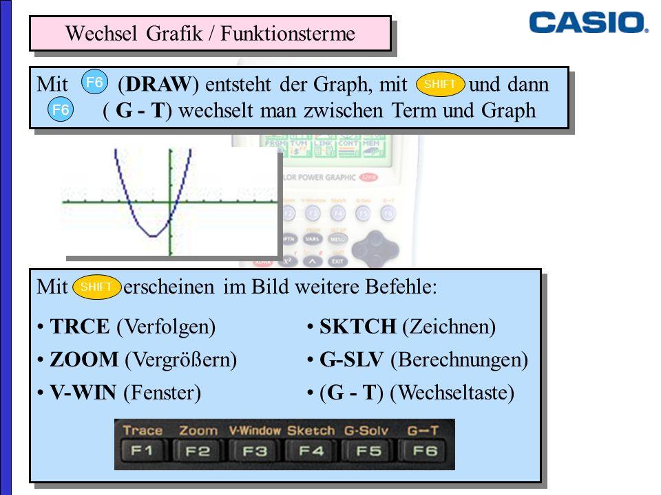 Mit erscheinen im Bild weitere Befehle: TRCE (Verfolgen) SKTCH (Zeichnen) ZOOM (Vergrößern) G-SLV (Berechnungen) V-WIN (Fenster) (G - T) (Wechseltaste