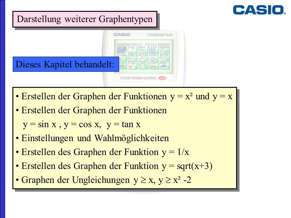 Erstellen der Graphen der Funktionen y = x² und y = x Erstellen der Graphen der Funktionen y = sin x, y = cos x, y = tan x Einstellungen und Wahlmögli