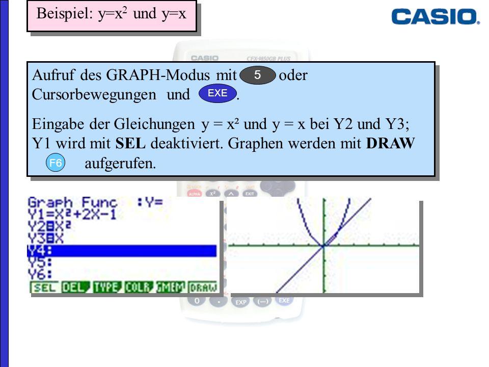 Aufruf des GRAPH-Modus mit oder Cursorbewegungen und. Eingabe der Gleichungen y = x² und y = x bei Y2 und Y3; Y1 wird mit SEL deaktiviert. Graphen wer