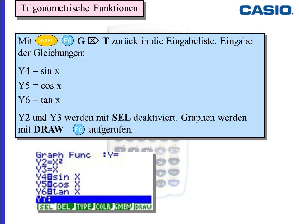 Trigonometrische Funktionen Mit G T zurück in die Eingabeliste. Eingabe der Gleichungen: Y4 = sin x Y5 = cos x Y6 = tan x Y2 und Y3 werden mit SEL dea