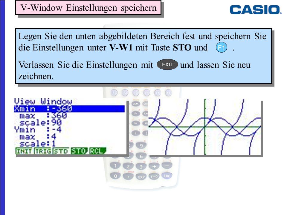 V-Window Einstellungen speichern Legen Sie den unten abgebildeten Bereich fest und speichern Sie die Einstellungen unter V-W1 mit Taste STO und. Verla