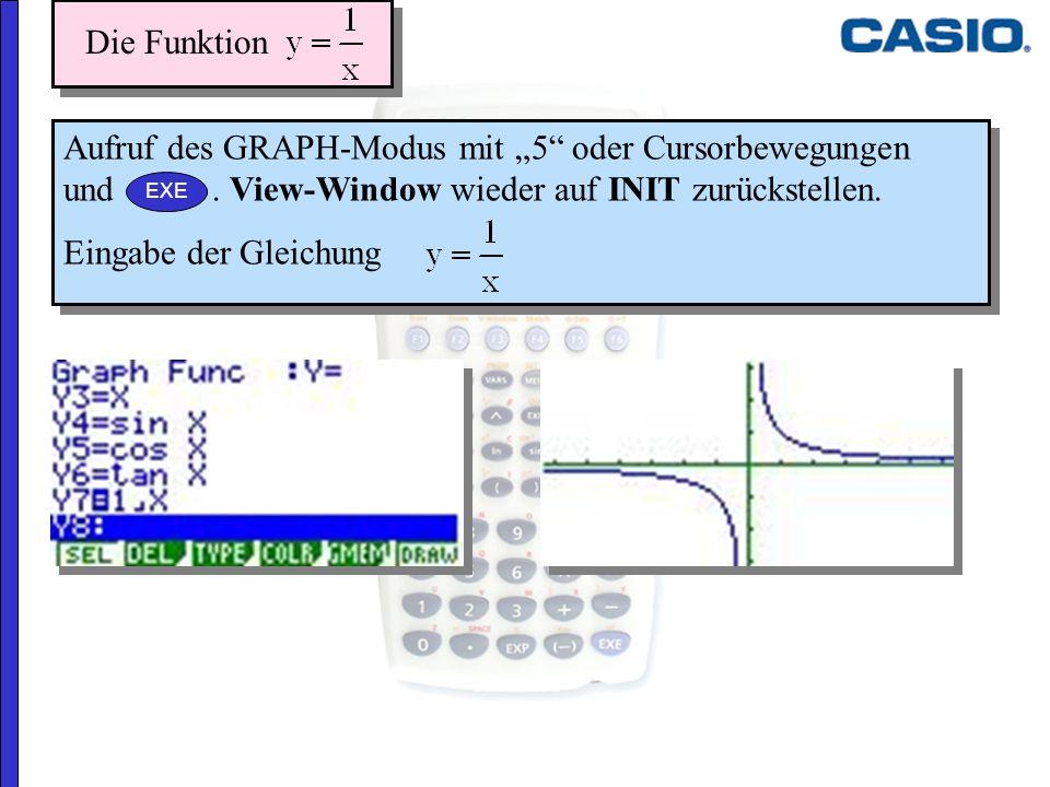 Aufruf des GRAPH-Modus mit 5 oder Cursorbewegungen und. View-Window wieder auf INIT zurückstellen. Eingabe der Gleichung Aufruf des GRAPH-Modus mit 5