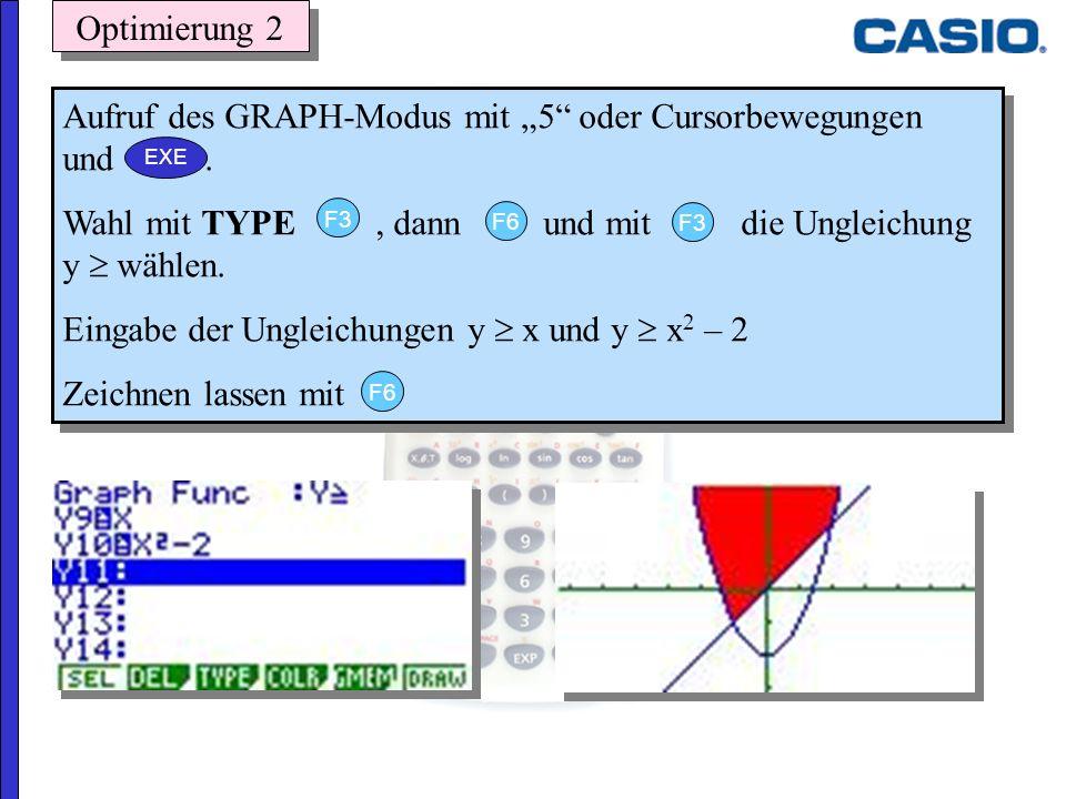 Optimierung 2 Aufruf des GRAPH-Modus mit 5 oder Cursorbewegungen und. Wahl mit TYPE, dann und mit die Ungleichung y wählen. Eingabe der Ungleichungen