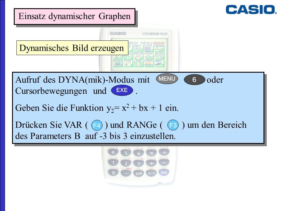 Einsatz dynamischer Graphen Dynamisches Bild erzeugen Aufruf des DYNA(mik)-Modus mit oder Cursorbewegungen und. Geben Sie die Funktion y 2 = x 2 + bx