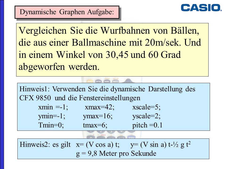 Vergleichen Sie die Wurfbahnen von Bällen, die aus einer Ballmaschine mit 20m/sek. Und in einem Winkel von 30,45 und 60 Grad abgeworfen werden. Dynami