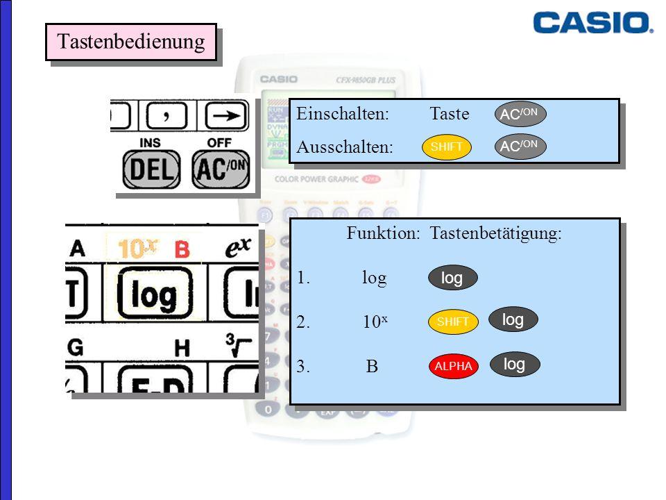 Einschalten: Taste Ausschalten: Einschalten: Taste Ausschalten: Funktion:Tastenbetätigung: 1. log 2. 10 x 3. B Funktion:Tastenbetätigung: 1. log 2. 10