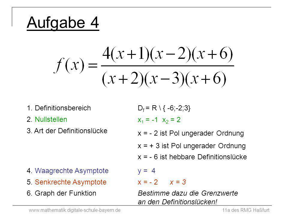 www.mathematik.digitale-schule-bayern.de 11a des RMG Haßfurt Aufgabe 4 1. Definitionsbereich 4. Waagrechte Asymptote 5. Senkrechte Asymptote 6. Graph