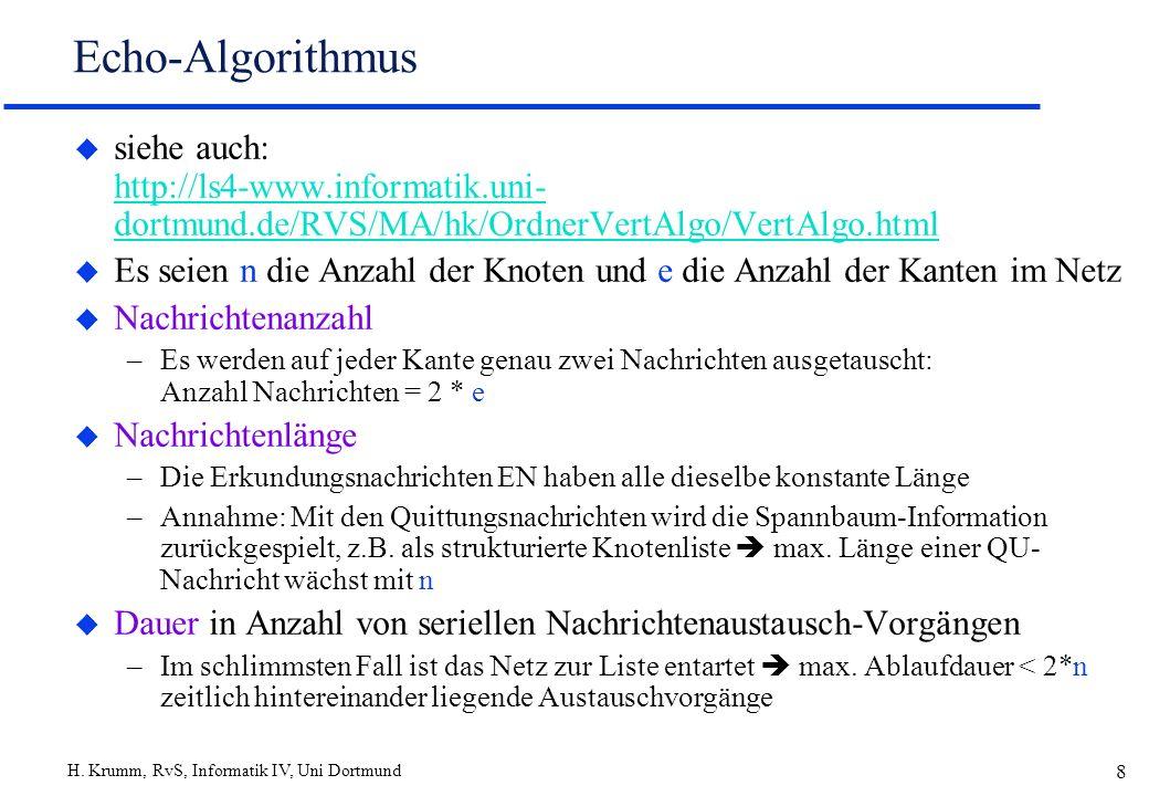 H. Krumm, RvS, Informatik IV, Uni Dortmund 8 Echo-Algorithmus u siehe auch: http://ls4-www.informatik.uni- dortmund.de/RVS/MA/hk/OrdnerVertAlgo/VertAl