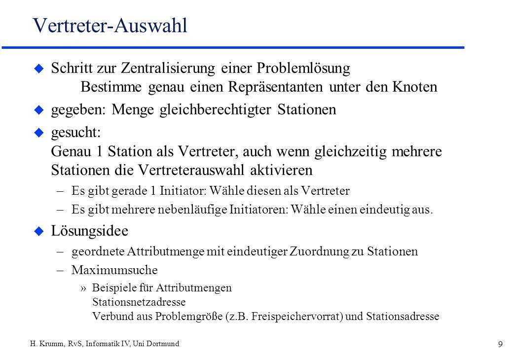 H. Krumm, RvS, Informatik IV, Uni Dortmund 9 Vertreter-Auswahl u Schritt zur Zentralisierung einer Problemlösung Bestimme genau einen Repräsentanten u