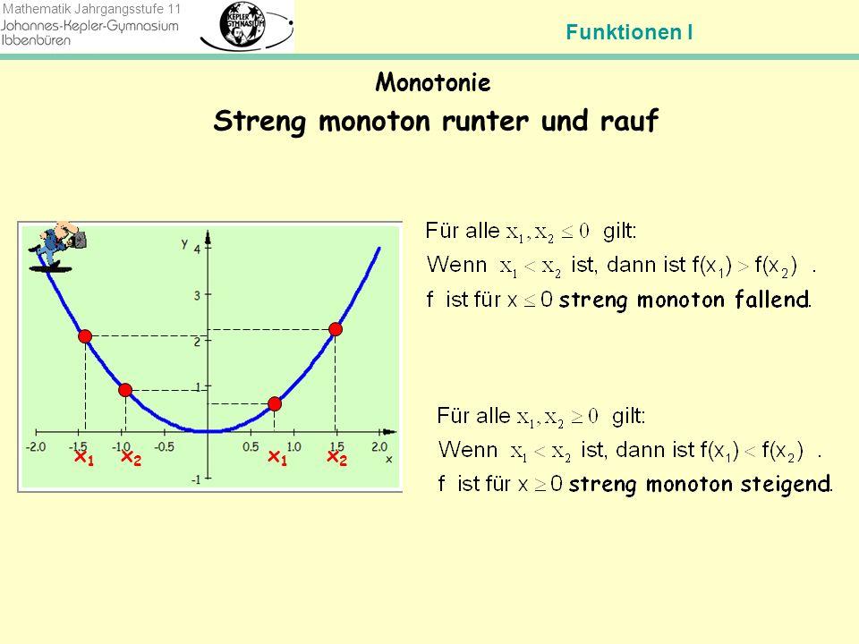 Funktionen I Mathematik Jahrgangsstufe 11 Streng monoton rauf und runter Monotonie