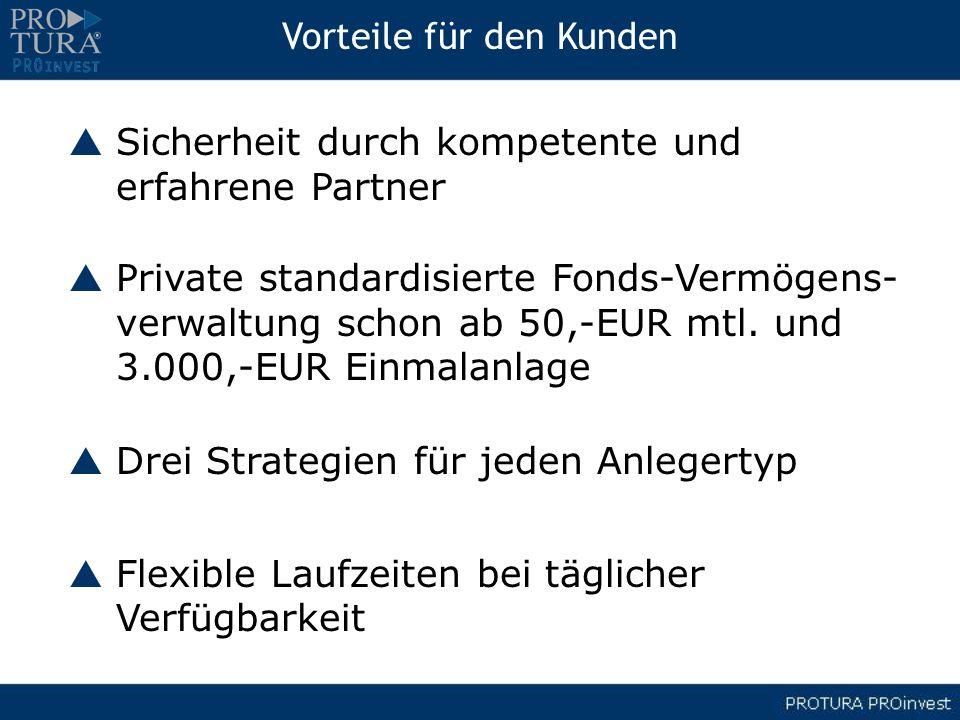 Vorteile für den Kunden Sicherheit durch kompetente und erfahrene Partner Private standardisierte Fonds-Vermögens- verwaltung schon ab 50,-EUR mtl. un