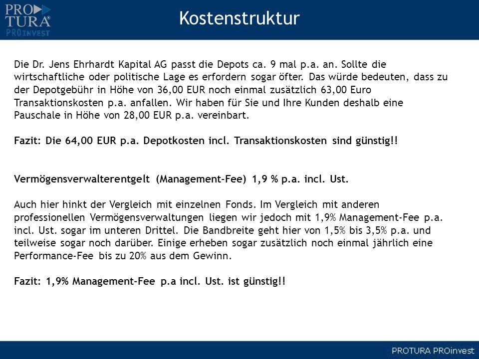 Die Dr. Jens Ehrhardt Kapital AG passt die Depots ca. 9 mal p.a. an. Sollte die wirtschaftliche oder politische Lage es erfordern sogar öfter. Das wür