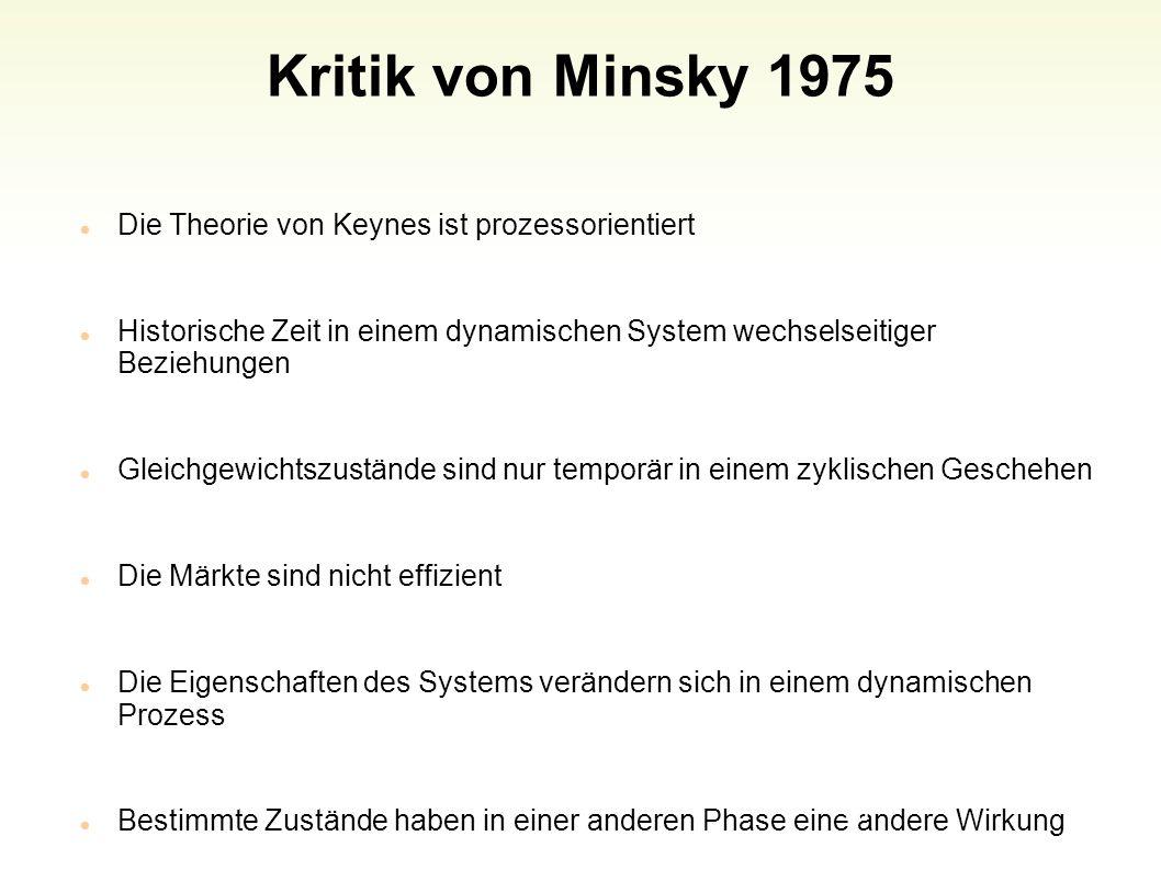 Kritik von Minsky 1975 Die Theorie von Keynes ist prozessorientiert Historische Zeit in einem dynamischen System wechselseitiger Beziehungen Gleichgew