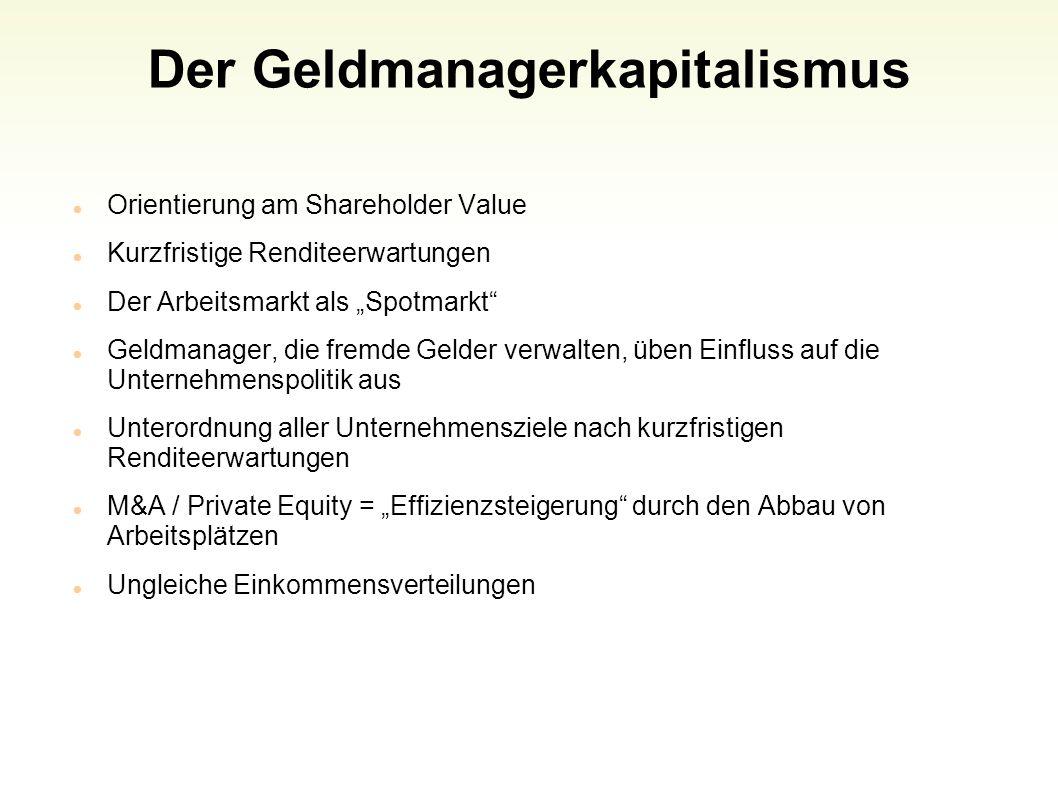 Der Geldmanagerkapitalismus Orientierung am Shareholder Value Kurzfristige Renditeerwartungen Der Arbeitsmarkt als Spotmarkt Geldmanager, die fremde G