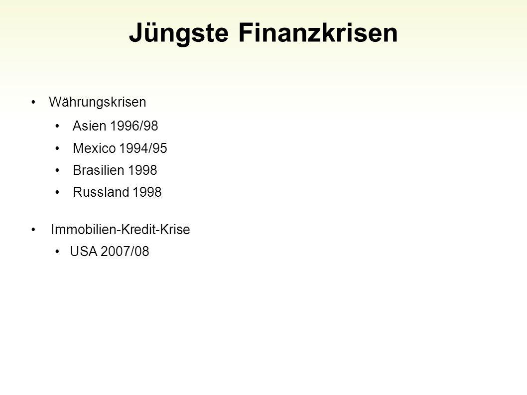 Jüngste Finanzkrisen Währungskrisen Asien 1996/98 Mexico 1994/95 Brasilien 1998 Russland 1998 Immobilien-Kredit-Krise USA 2007/08 48