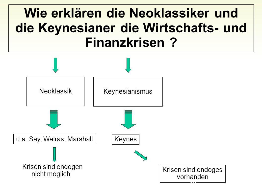 Wie erklären die Neoklassiker und die Keynesianer die Wirtschafts- und Finanzkrisen ? Neoklassik Keynesianismus u.a. Say, Walras, Marshall Krisen sind