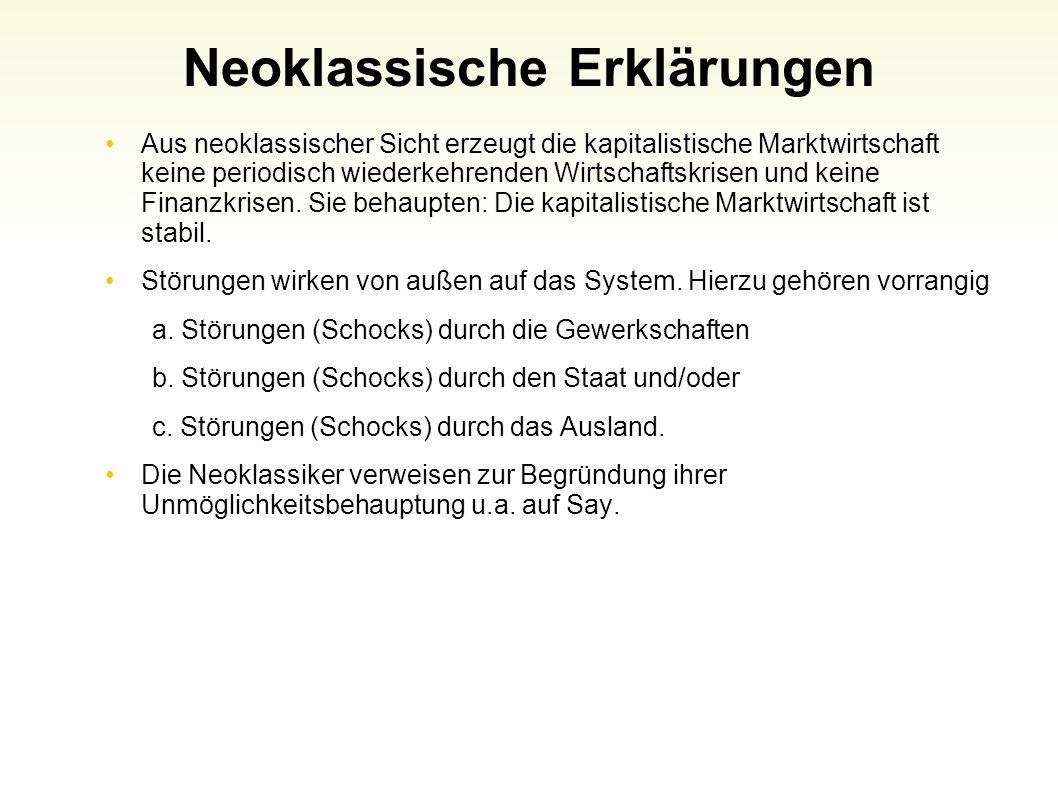 Neoklassische Erklärungen Aus neoklassischer Sicht erzeugt die kapitalistische Marktwirtschaft keine periodisch wiederkehrenden Wirtschaftskrisen und