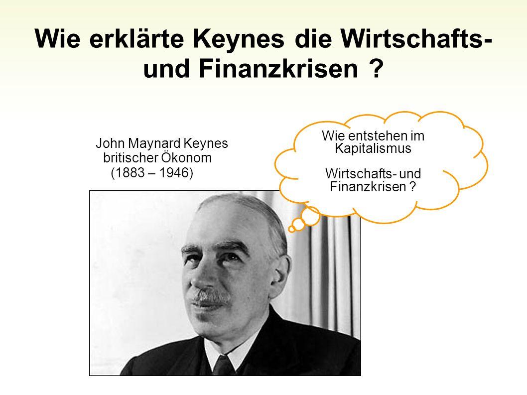 Wie erklärte Keynes die Wirtschafts- und Finanzkrisen ? Folie 54 Wie entstehen im Kapitalismus Wirtschafts- und Finanzkrisen ? John Maynard Keynes bri