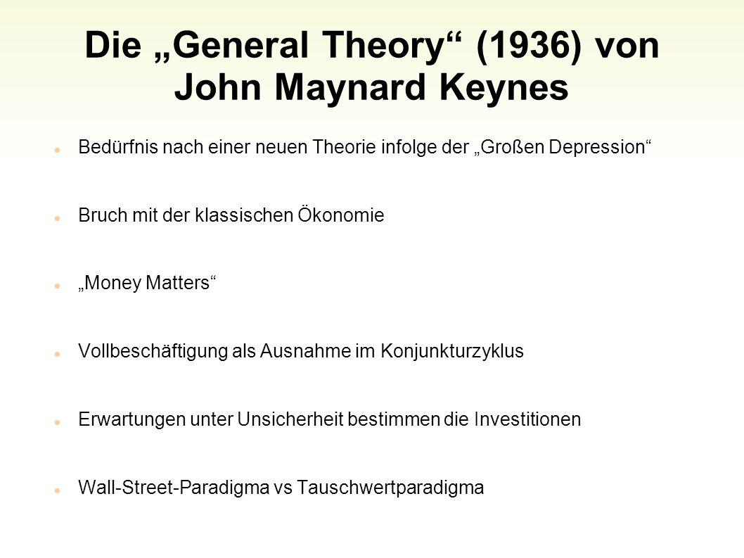Die General Theory (1936) von John Maynard Keynes Bedürfnis nach einer neuen Theorie infolge der Großen Depression Bruch mit der klassischen Ökonomie