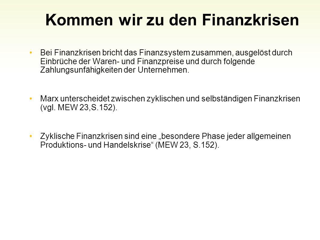 Kommen wir zu den Finanzkrisen Bei Finanzkrisen bricht das Finanzsystem zusammen, ausgelöst durch Einbrüche der Waren- und Finanzpreise und durch folg