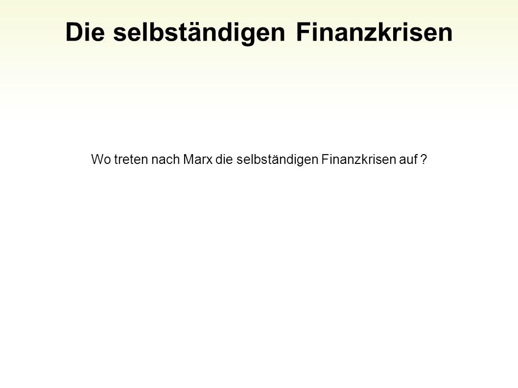 Die selbständigen Finanzkrisen Wo treten nach Marx die selbständigen Finanzkrisen auf ? 77