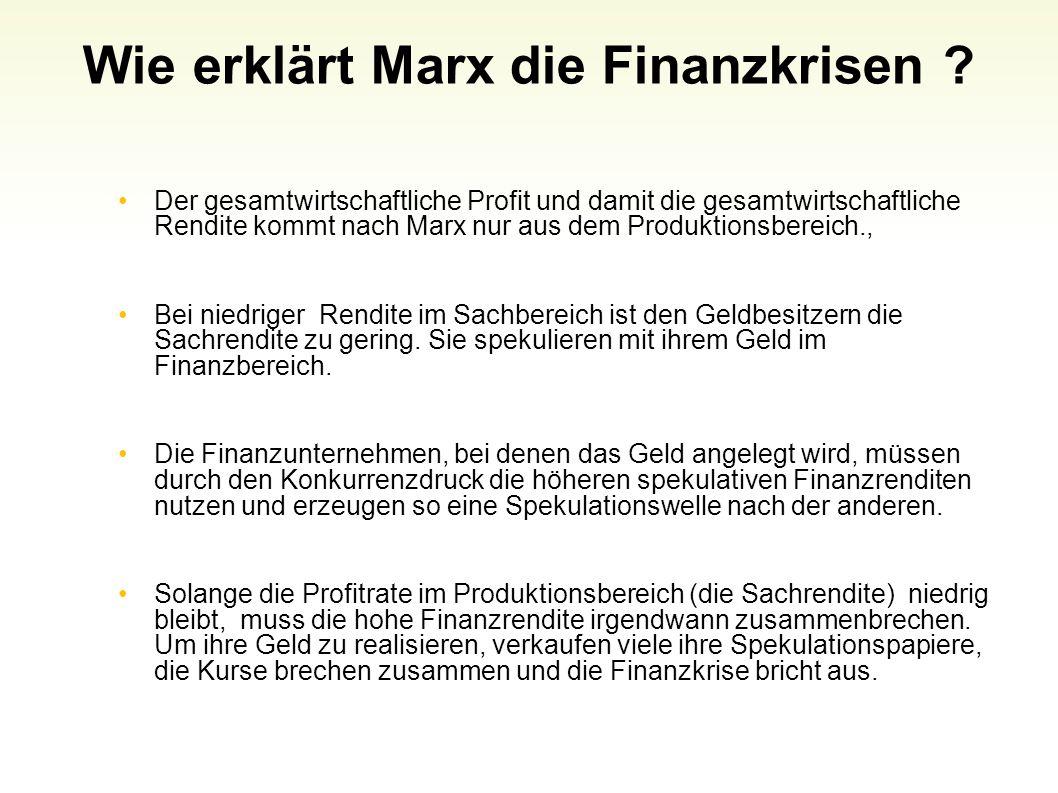 Wie erklärt Marx die Finanzkrisen ? Der gesamtwirtschaftliche Profit und damit die gesamtwirtschaftliche Rendite kommt nach Marx nur aus dem Produktio