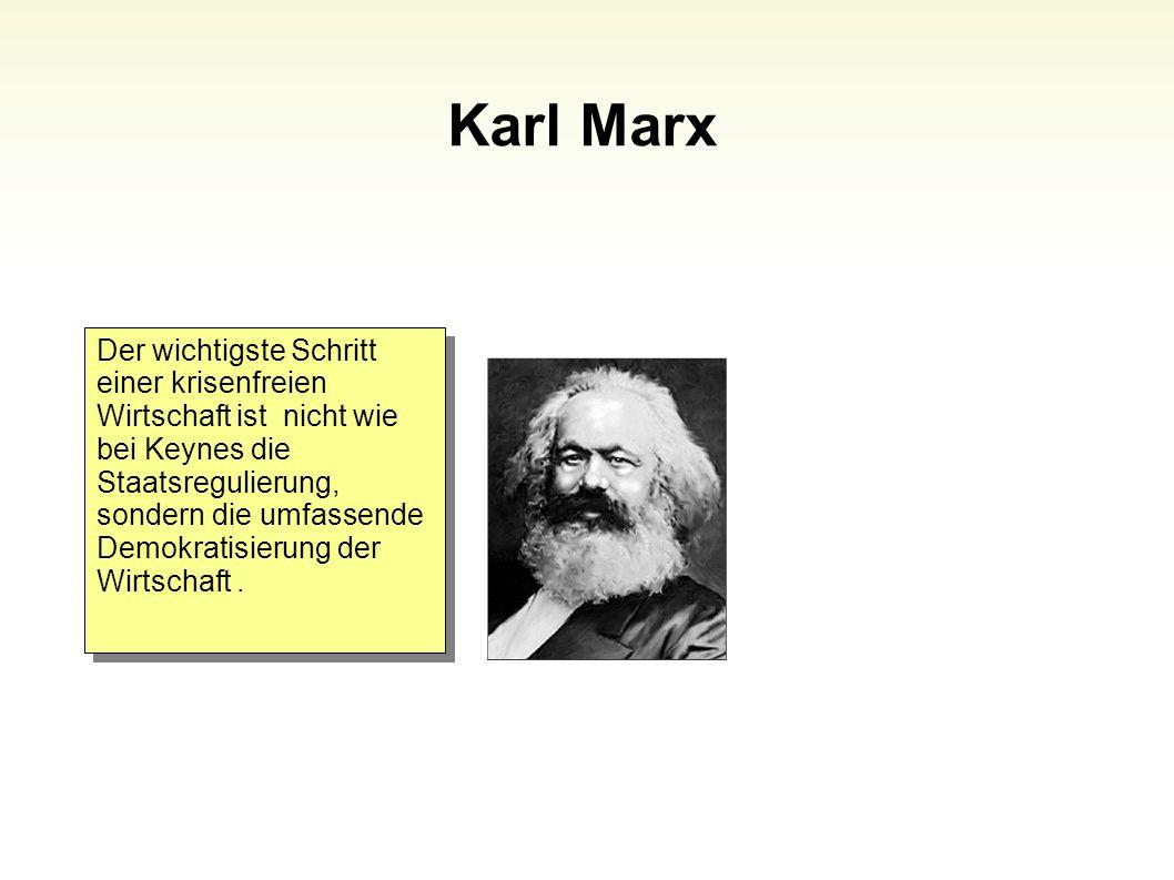 Karl Marx 88 Der wichtigste Schritt einer krisenfreien Wirtschaft ist nicht wie bei Keynes die Staatsregulierung, sondern die umfassende Demokratisier