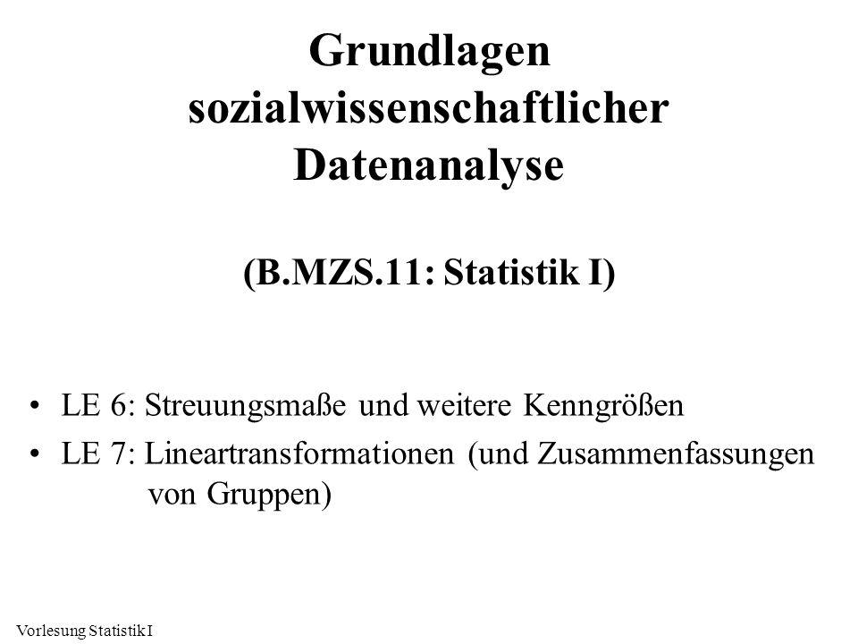 Vorlesung Statistik I Grundlagen sozialwissenschaftlicher Datenanalyse (B.MZS.11: Statistik I) LE 6: Streuungsmaße und weitere Kenngrößen LE 7: Linear