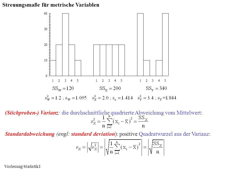 Vorlesung Statistik I Streuungsmaße für metrische Variablen (Stichproben-) Varianz: die durchschnittliche quadrierte Abweichung vom Mittelwert: Standa