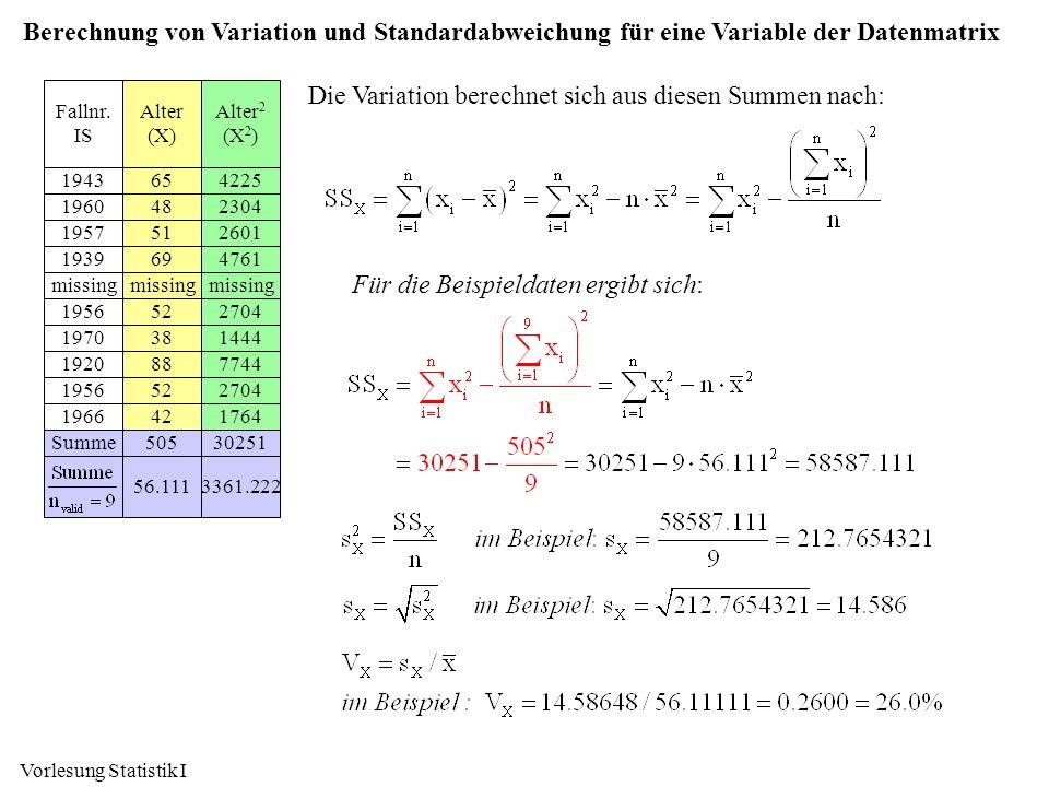 Vorlesung Statistik I Berechnung von Variation und Standardabweichung für eine Variable der Datenmatrix Alter 2 (X 2 ) 4225 2304 2601 4761 missing 270