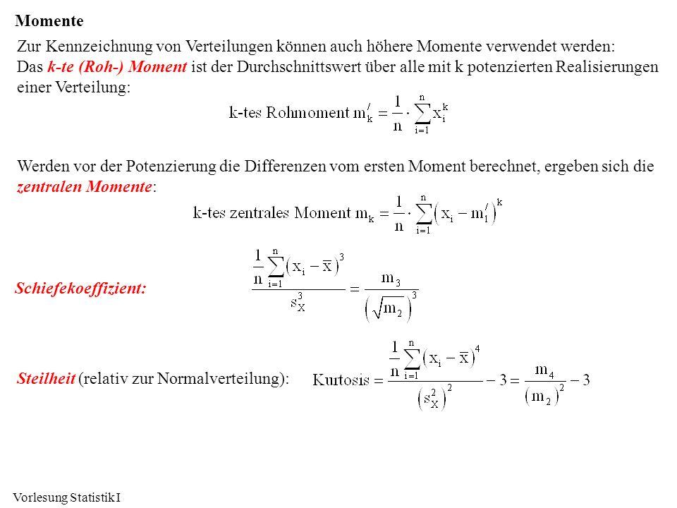 Vorlesung Statistik I Momente Zur Kennzeichnung von Verteilungen können auch höhere Momente verwendet werden: Das k-te (Roh-) Moment ist der Durchschn