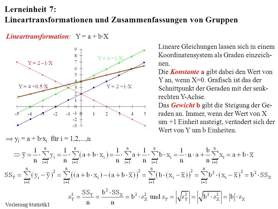 Vorlesung Statistik I Lerneinheit 7: Lineartransformationen und Zusammenfassungen von Gruppen Lineartransformation:Y = a + b·X Lineare Gleichungen las