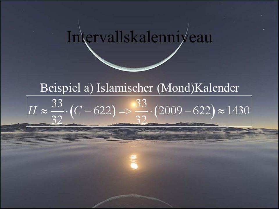 Intervallskalenniveau Beispiel a) Islamischer (Mond)Kalender