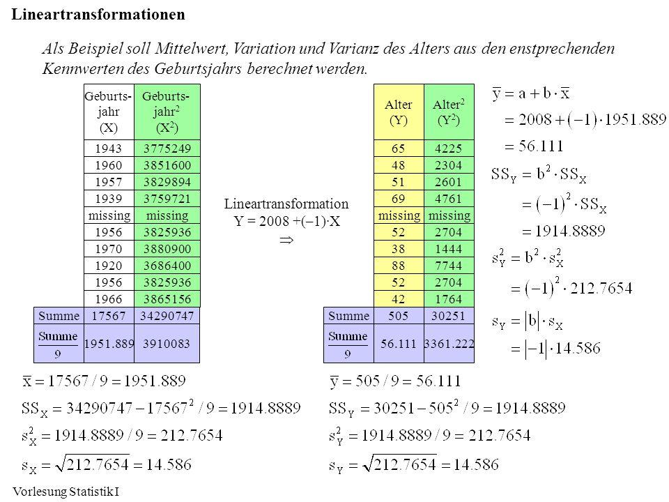Vorlesung Statistik I Als Beispiel soll Mittelwert, Variation und Varianz des Alters aus den enstprechenden Kennwerten des Geburtsjahrs berechnet werd