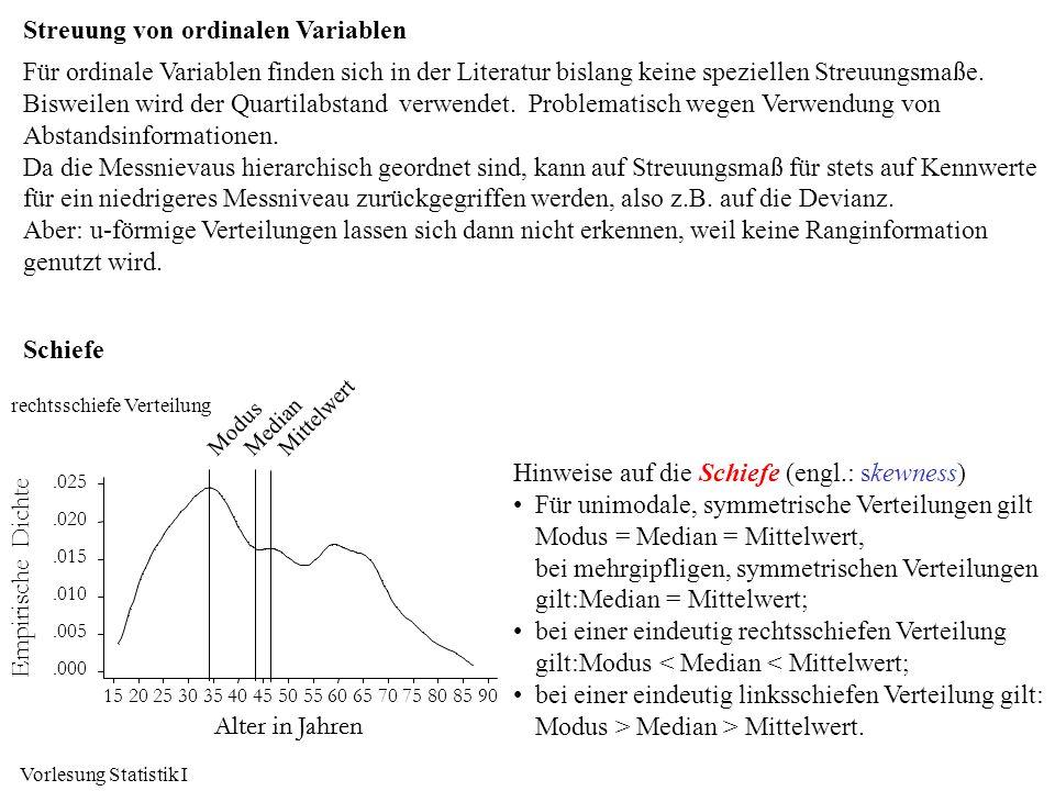Vorlesung Statistik I Streuung von ordinalen Variablen Für ordinale Variablen finden sich in der Literatur bislang keine speziellen Streuungsmaße. Bis
