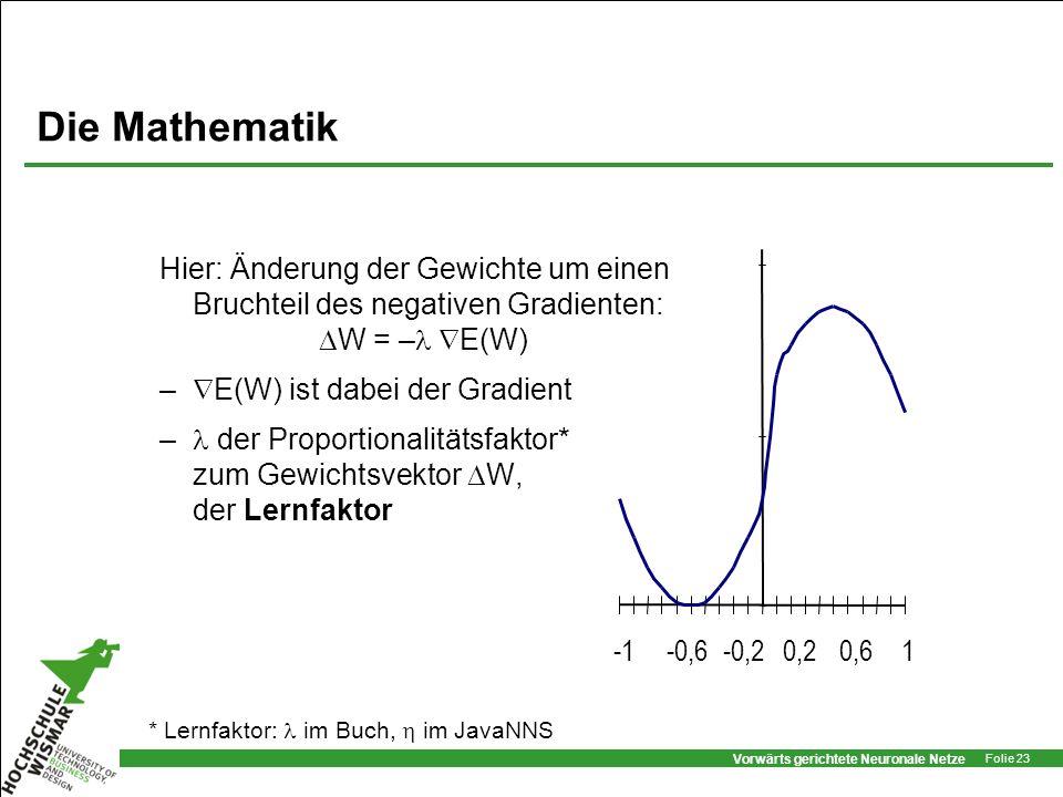 Vorwärts gerichtete Neuronale Netze Folie 23 Die Mathematik Hier: Änderung der Gewichte um einen Bruchteil des negativen Gradienten: W = – E(W) – E(W)