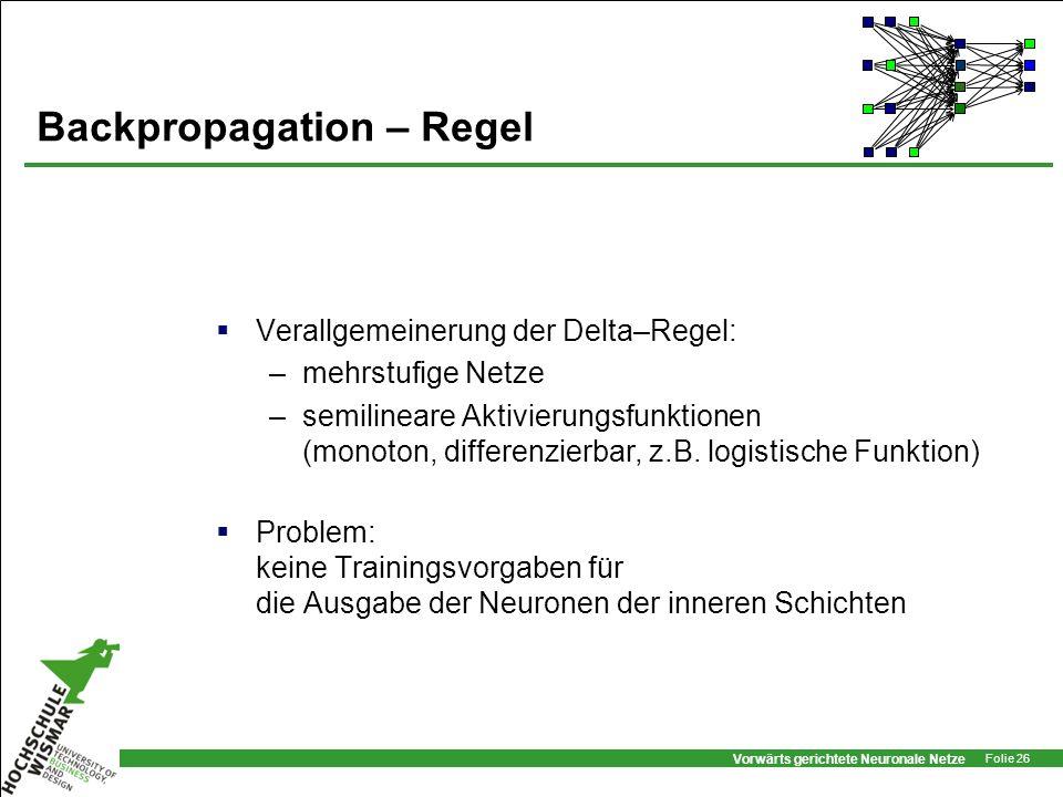 Vorwärts gerichtete Neuronale Netze Folie 26 Backpropagation – Regel Verallgemeinerung der Delta–Regel: –mehrstufige Netze –semilineare Aktivierungsfu