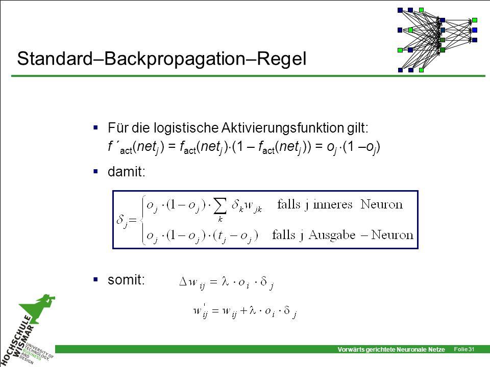 Vorwärts gerichtete Neuronale Netze Folie 31 Standard–Backpropagation–Regel Für die logistische Aktivierungsfunktion gilt: f ´ act (net j ) = f act (n