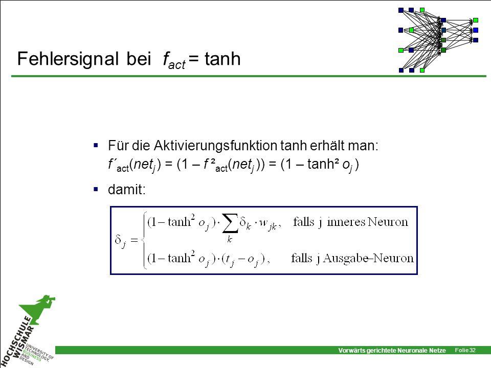 Vorwärts gerichtete Neuronale Netze Folie 32 Fehlersignal bei f act = tanh Für die Aktivierungsfunktion tanh erhält man: f´ act (net j ) = (1 – f ² ac