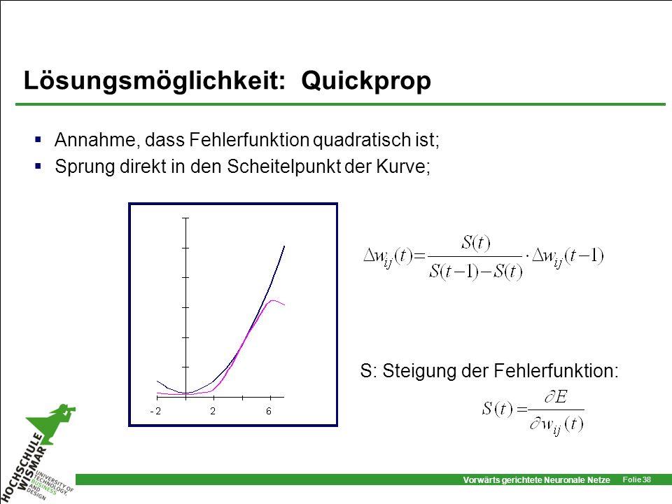 Vorwärts gerichtete Neuronale Netze Folie 38 Lösungsmöglichkeit: Quickprop Annahme, dass Fehlerfunktion quadratisch ist; Sprung direkt in den Scheitel