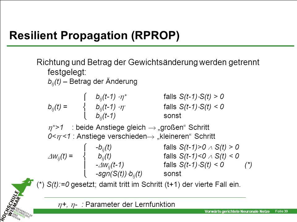 Vorwärts gerichtete Neuronale Netze Folie 39 Resilient Propagation (RPROP) Richtung und Betrag der Gewichtsänderung werden getrennt festgelegt: b ij (
