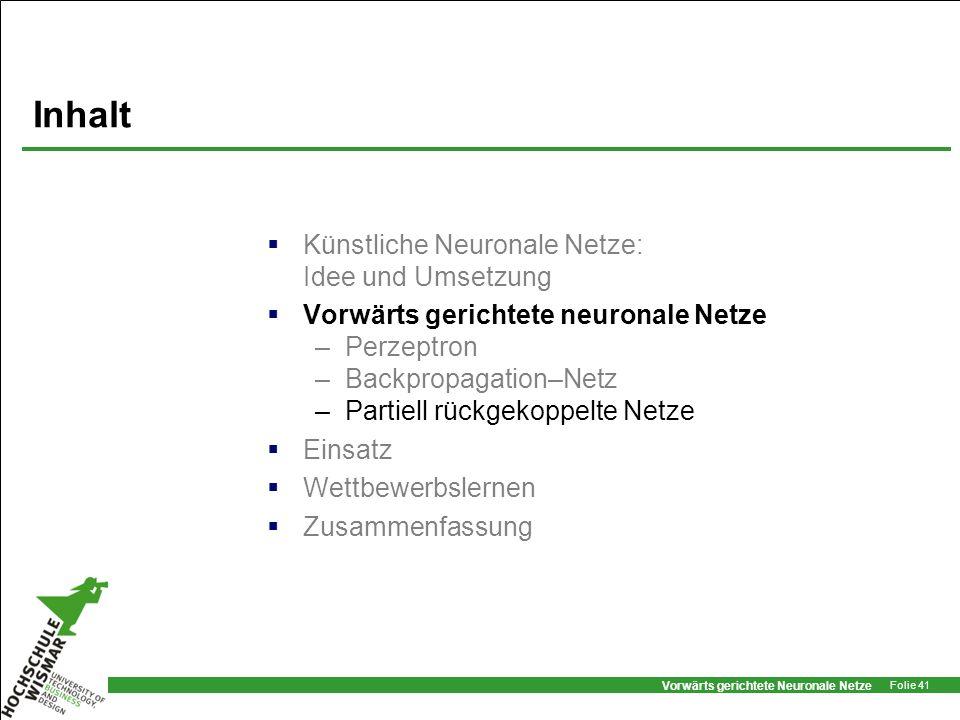 Vorwärts gerichtete Neuronale Netze Folie 41 Inhalt Künstliche Neuronale Netze: Idee und Umsetzung Vorwärts gerichtete neuronale Netze –Perzeptron –Ba