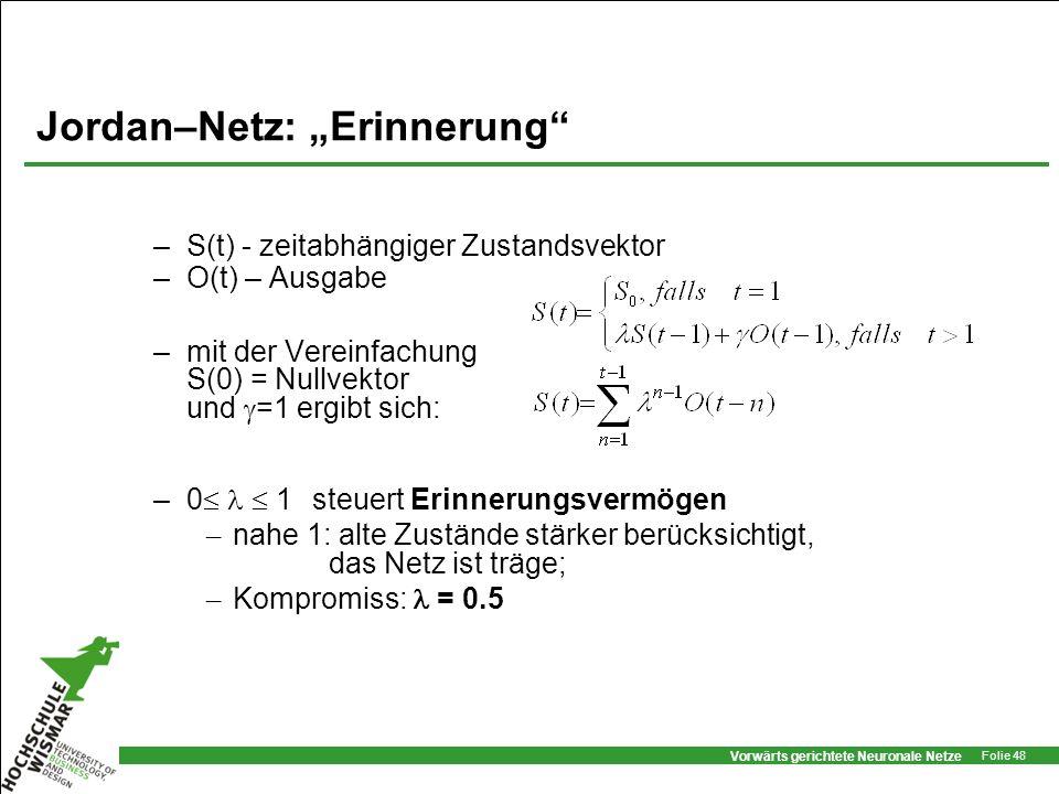 Vorwärts gerichtete Neuronale Netze Folie 48 Jordan–Netz: Erinnerung –S(t) - zeitabhängiger Zustandsvektor –O(t) – Ausgabe –mit der Vereinfachung S(0)