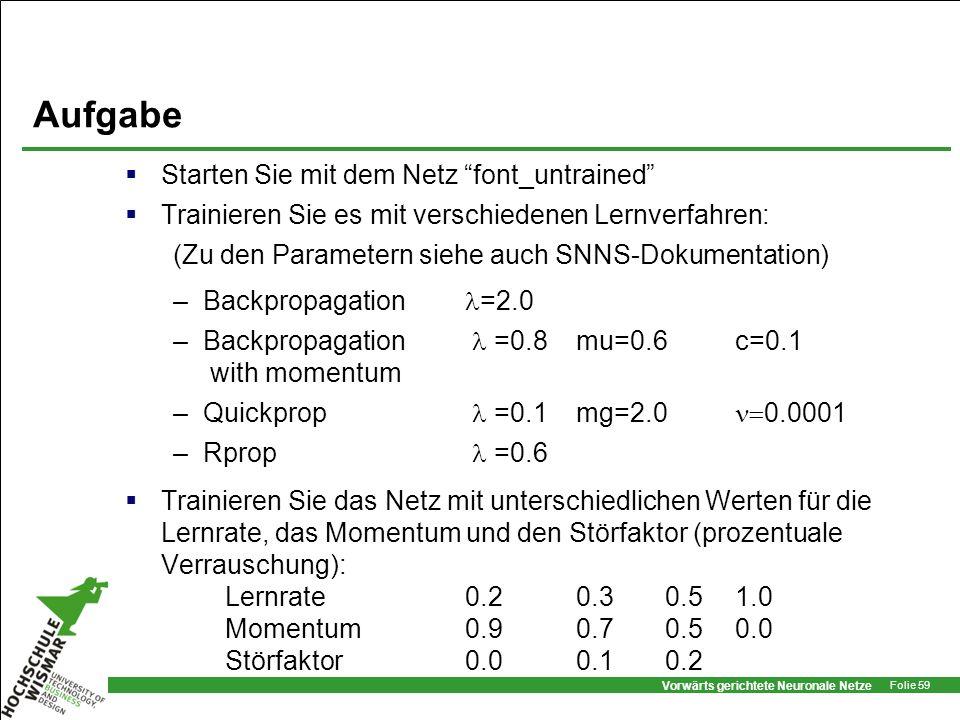 Vorwärts gerichtete Neuronale Netze Folie 59 Aufgabe Starten Sie mit dem Netz font_untrained Trainieren Sie es mit verschiedenen Lernverfahren: (Zu de